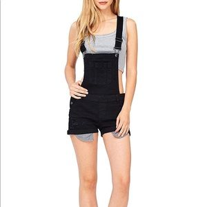 Large black denim overall shorts distressed NWT
